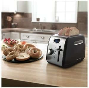 Kitchenaid Kmt222ob 2 Slice Black Digital Stainless Steel Toaster w/ LCD Display Fast Shipping By Fedex