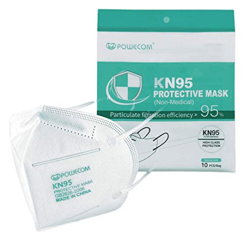 Powecom KN95 Protective Face Mask (10-Pack) Reusable, High Class Protection Against Particulates & Dust; FDA EUA LIST
