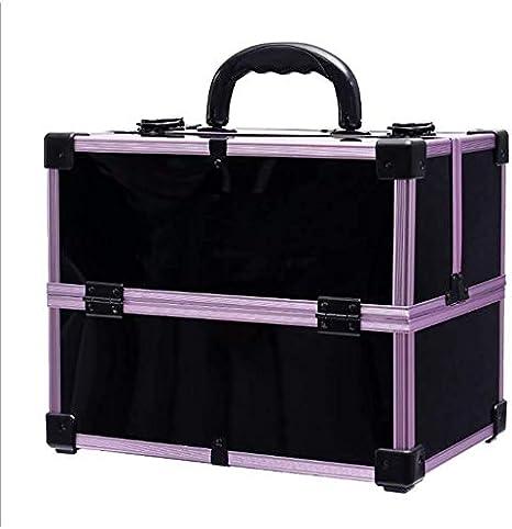 HUJPI Maletín para Maquillaje, Profesional 1} Maletín para Cosméticos Accesorios portátiles de Recorrido de la Caja cosmética,Purple: Amazon.es: Hogar