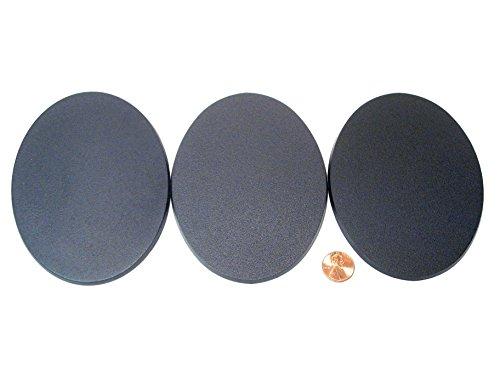 Black Oval Base (Value Pack of 3 - 120MM x 92MM Oval Large Walker Monster Terrain Setting Black Miniature Model Bases for TableTop or Miniature WarGames)
