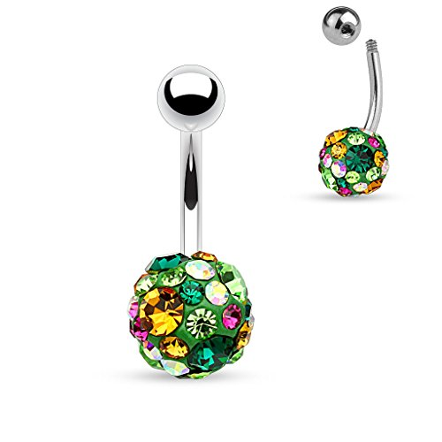 UNUStyle Crystal Paved 10mm Ferido Ball Stainless Steel Belly Button Navel Rings Body Piercing (D: Green, Fuschia,Topaz and (Star Ferido Crystal)