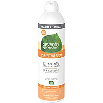 Seventh Generation Disinfectant Spray, Fresh Citrus & Thyme Scent, 13.9 Ounce (Pack of 8)