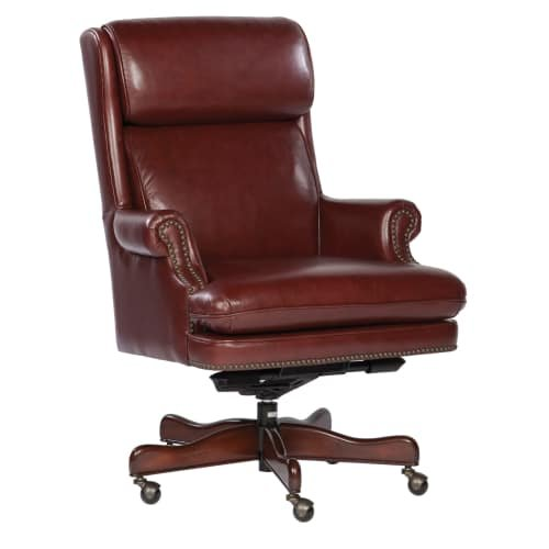 Leather Executive Office Chair with Brass Nailhead Trim Color: Merlot
