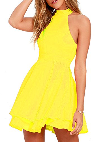 Women's Halter Neck Open Back Casual Mini A Line Cocktail...