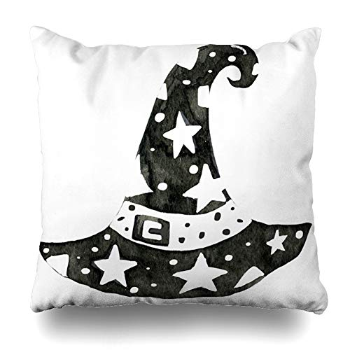 Ahawoso Throw Pillow Cover Pillowcase Hell Cult Black Ink Witchcraft Hat Tattoos Apothecary Culture Cute Dark Darkness Devil Design Home Decor Square 16x16 Zipper Cushion Case ()