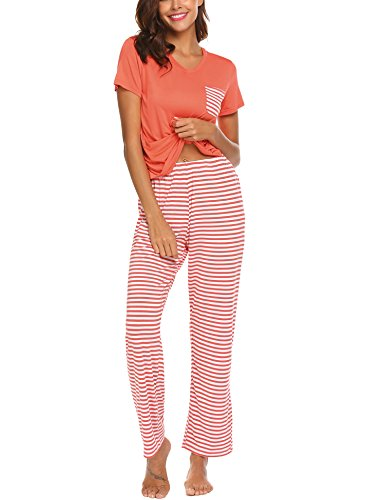 Hotouch Women's V-Neck Sleepwear Short Sleeves Top with Pants 2PCS Pajama Set Orange XXL