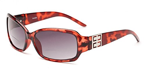 Readers.com The Karissa Bifocal Sun Readers for Women, Womens Rectangular Reading Glasses Sunglasses, Rectangle Full Frame Readers + 1.00 Pink Tortoise (Microfiber Cleaning Carrying Pouch - Carrying And Glasses Sunglasses