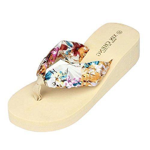 LHWY Sandalen Damen Zehentrenner, Böhmen Floral Strand Sandalen Keil Plattform Thongs Hausschuhe Flip Flops Sommer Mädchen High Heel Beige