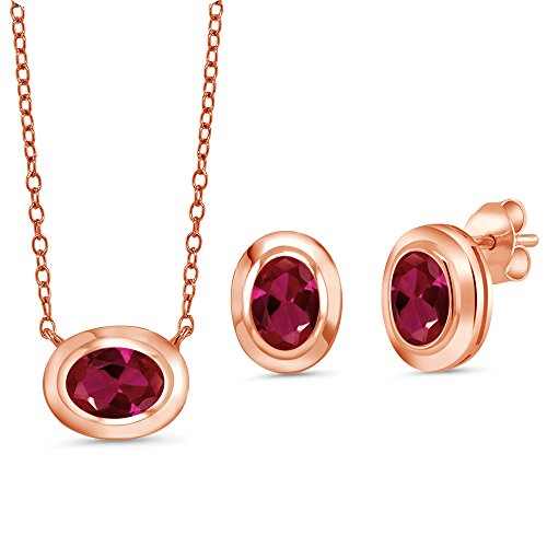 Gem Stone King 2.70 Ct Red Created Ruby 18K Rose Gold Plated Silver Pendant Earrings Set