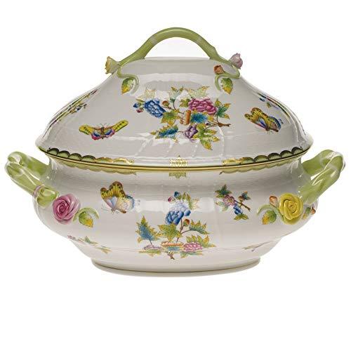 Herend Queen Victoria Green Porcelain Tureen with Branch Handle