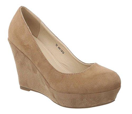 King Of Shoes Damen Mary Jane Keil Pumps Plateau High Heels Wedges Keilabsatz F8 Beige