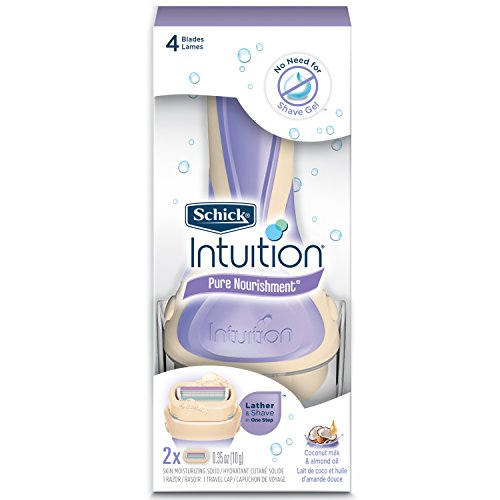 Schick Intuition Pure Nourishment Razor for Women with 2 Moisturizing Razor Blade Refills with Coconut Milk and Almond Oil