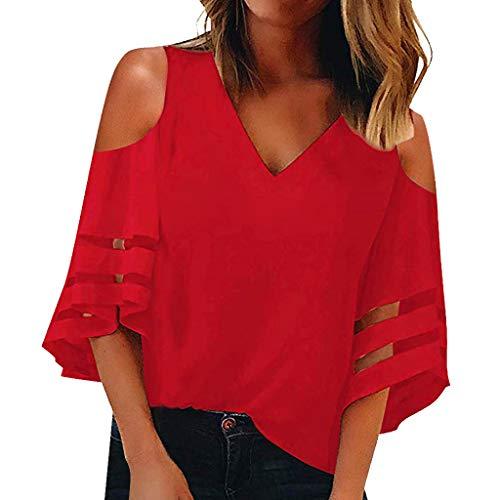 Duseedik Women's Summer Tops Off Shoulder Blouse Button V Neck Mesh Panel 3/4 Bell Sleeve Loose Shirt Tunic T-Shirt