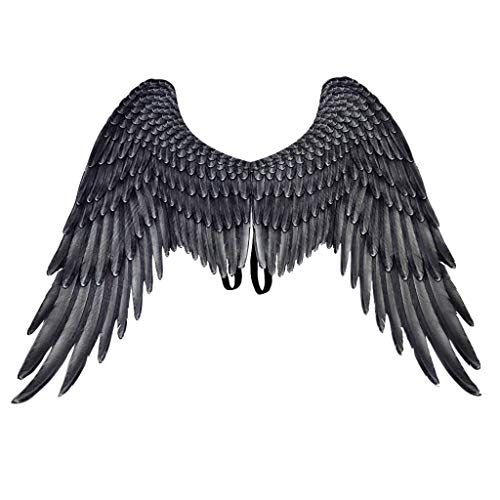 Black Feathered Angel Wings (Lomsarsh Cosplay Wings, Kids Bird Wings Costume Feathered Dress Up Accessory-Boys Girls Pretend Play Games Wings Cosplay Pretend Play Dress Up Costume)