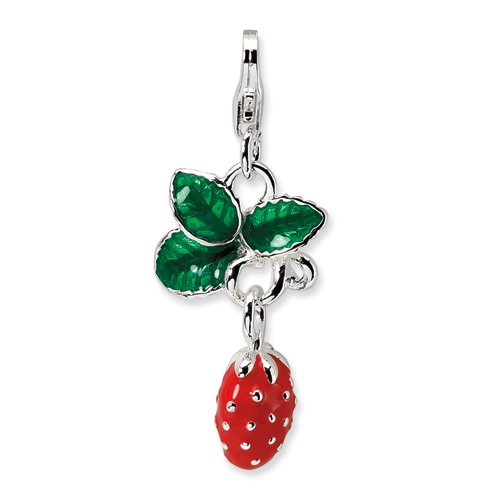 Sterling Silver 3-D Enameled Strawberry W/Lobster Claw Clasp Clasp Charm Charms ()