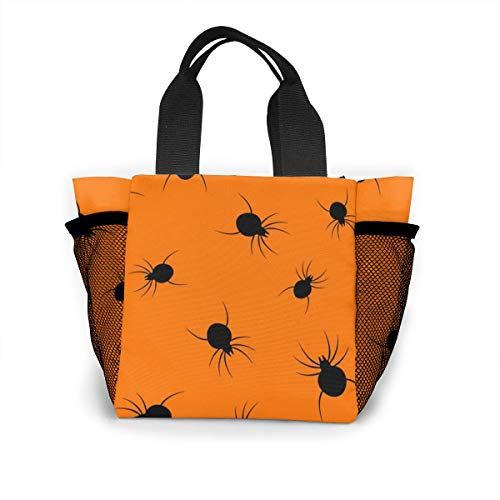 (Xiaoxiaodada Halloween Spider Shopping Tote for Women Insulated Lunch Tote Bag Cute Lunch Box Lunchbox Reusable Lunch Bag Lunch Organizer Lunch Holder for Women Adult Girls Kids)