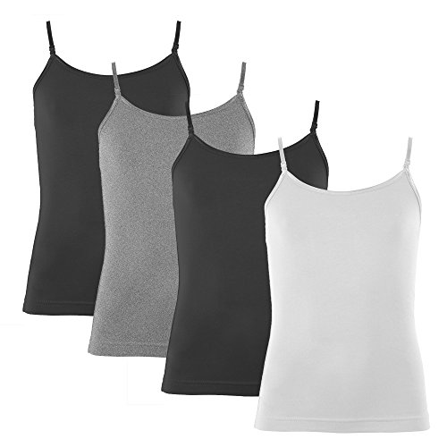 Popular Girl's Cotton Camisole with Adjustable Straps- 4 Pack Basic - L (10)