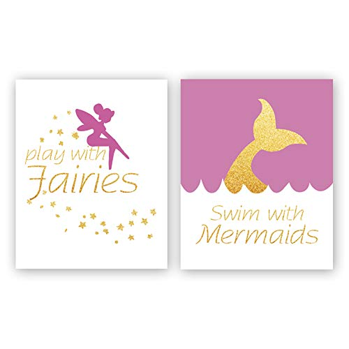 - Fairy Typography Art Print,Watercolor Fairy Tale Funny Letterings Prints Mermaid Cardstock Art Poster Home Wall Decor,Great Gift for Kids Bedroom (Set of 2, 8'' x 10'',Unframed)