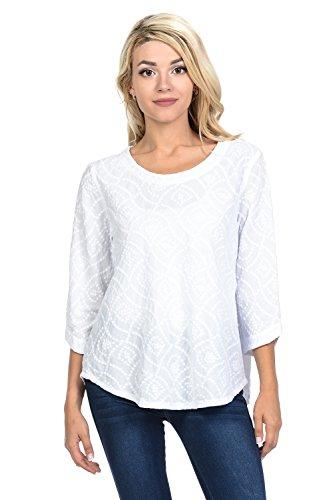 Focus Fashion Women's Cotton Voile Wave Embroidery Tunic Shirts-EC101 (X-Large, -