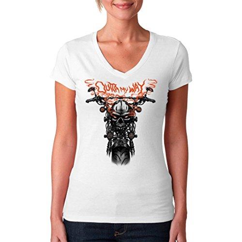 Biker Girlie V-Neck Shirt - Biker: Outta My Way by Im-Shirt Weiß