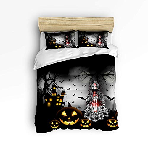 (3 Piece Bedding Set, Halloween Theme Pumpkin Lady Witch Woman Sign Art Print, 3 pcs Duvet Cover Set Bedspread Daybed for Childrens/Kids/Teens/Adults Full )