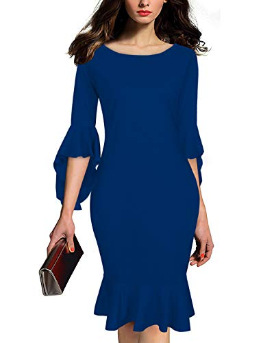 AUTCY Prom Dresses Women, Womens Classic Vintage Bodycon Dress Round Neck 3 4 Sleeve Slim Fit Sexy Club Cocktail Dresses Blue M by AUTCY