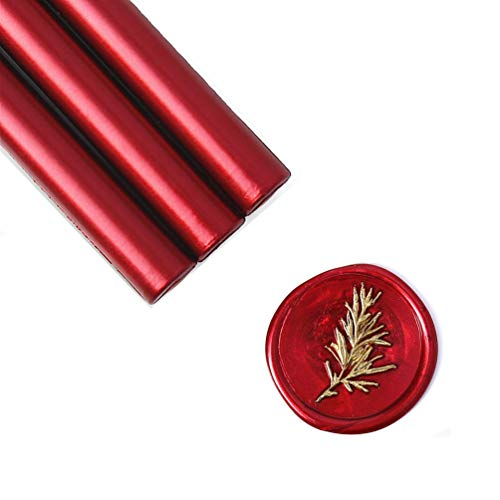 (UNIQOOO Mailable Glue Gun Sealing Wax Sticks for Wax Seal Stamp - Metallic Burgundy Wine Red, Great for Wedding Invitations, Cards Envelopes, Snail Mails, Wine Packages, Gift Ideas, Pack of)