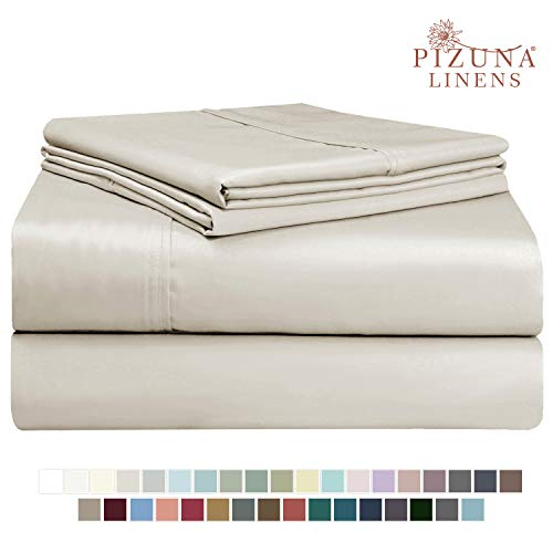 Pizuna 400 Thread Count Beige 6 Piece King Sheets Set Includes 2 Bonus Pillow Cases, 100% Long Staple Cotton Soft Sateen Weave Bed Sheets with Deep Pocket, Value Pack 6 pc Cotton Sheets King Taupe
