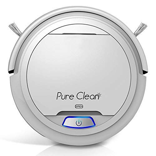 Pure Clean Automatic Robot Vacuum – Robotic Auto Home Cleaning for Clean Carpet Hardwood Floor – Cleaner Bot Self Detects Stairs – HEPA Filter – PUCRC25 (White) (Renewed)