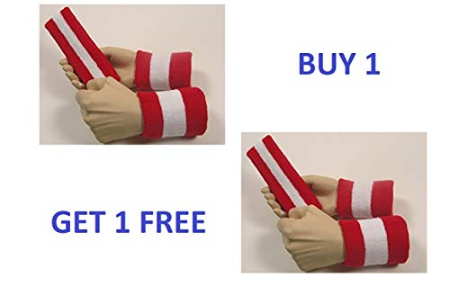 SockTower 1 Large Set Headband Wristbands Sports Athletic Terry Cotton Cloth Sweatband Red White Red