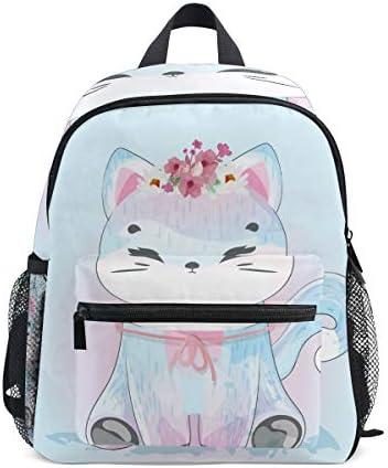 青い花猫キティ幼児就学前のバックパック本袋ミニショルダーバッグリュックサック通学用1-6年旅行男の子女の子