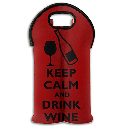 KEEP CALM And DRINK WINE Double Bottle Wine Tote(1-Pack) Painting Foldable Wine Tote Holds 2 Bottles Of Wine