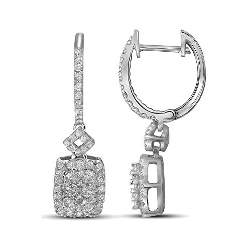 (FB Jewels 14kt White Gold Womens Round Diamond Rectangle Dangle Earrings 7/8 Cttw (I1-I2 clarity; H-I color))