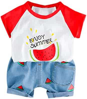 8bc50c6c1 Lisin Toddler Baby Kids Boys Girls Short Sleeve Watermelon Letter Tops Short  Pants Casual Outfits