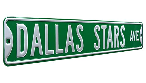 "Authentic Street Signs 28108 NHL Dallas Stars Ave, Heavy Duty, Metal Street Sign Wall Decor, 36"" x 6"", Team Color"