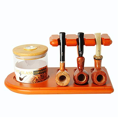 MUXIANG Pipe Stands for Tobacco jar Cigar Humidor and Pipe European Beech Wood Tobacco Pipe Rack Stand Display for 6 Pear Wood Tobacco Pipes (jar and Pipe not Included) FA0073