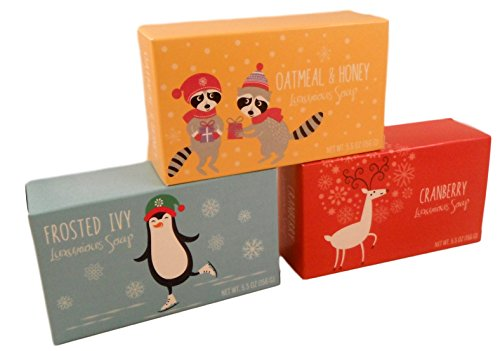 Winter Holiday Festive Luxury Soap - Set of 3 5.5OZ Bars - Made in the USA - Cruelty (Holiday Luxury Set)