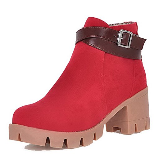 AmoonyFashion Womens Round Closed Toe Kitten Heels Frosted Low-Top Solid Boots Red