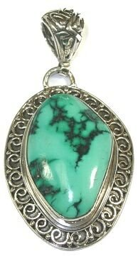 Freeform Turquoise & Sterling Silver Pendant (Turquoise Pendant Bead Freeform)