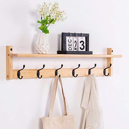 陳列棚は フローティングウォールシェルフ長方形多機能壁掛け木製コートフックラック収納とぶら下げ2 in 1デザインで6メタルフック DSJSP (Color : Wood color)