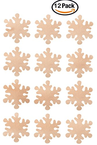 Creative Hobbies 4 Inch Wood Snowflake Cutout Shapes, Pack of 12, Unfinished Wood Ready to Paint or Decorate
