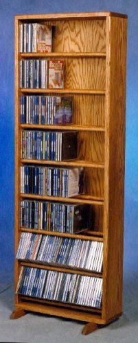 18.25 in. Dowel CD Storage Tower (Honey Oak)