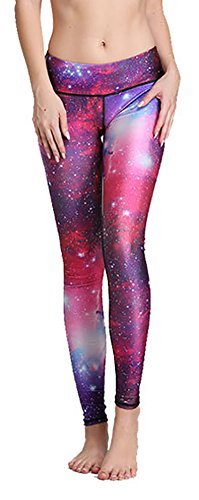 Printed Wide Waistband Skinny Legging Tights Yoga Pants for Women Red Galaxy