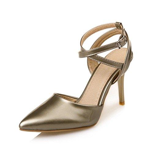 En Sandalias para Sandalias Zapatos Tacón Hebilla Gran los Moda de Ocupacional de Mujer Golden Verano Número Pulsera del Mujer Cruz Punta Sandalia Alto con YApwYr