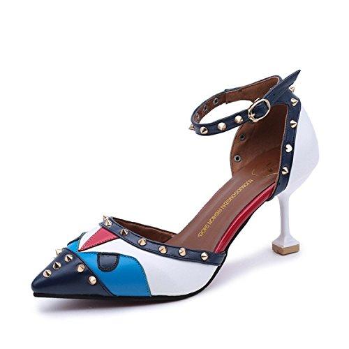 Shoes Pour Filles lgantes Et The With Chaussures Polyvalentes Fine Femme Bleu Splicing Sandales 35 Toe Twqw8Iz