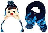 Top Navy Knitted Raindeer Animal Hat & Scarf Set Cute Fun Winter Fur Stuffed Beanie After Christmas Special Sale Special Gift Idea for Toddler Kid Child Little Boy Girl (Raindeer, Navy)