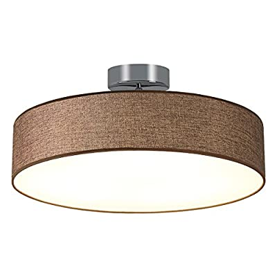 NATSEN LED Ceiling Light Flush Mount Ceiling Fixture 33W ,Chrome With a Brown Fabric Shade for Living Room,Bedroom, Dining room