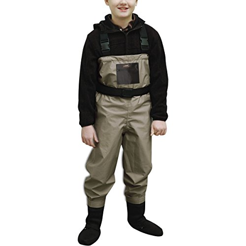 Caddis Youth Promo Breathable Stocking Foot Waders, Taupe, Large