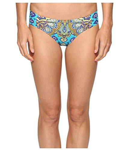 Trina Turk Women's Shirred Side Hipster Pant Bikini Swimsuit Bottom, Turquoise/Green/Corsica, 4