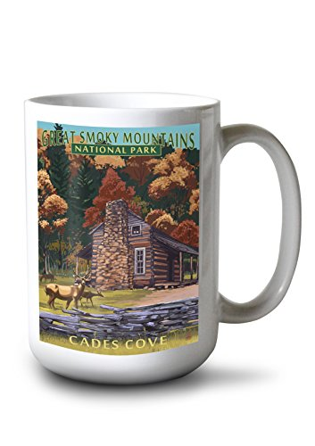 Great Smoky Mountains National Park, Tennesseee - Cades Cove and John Oliver Cabin Press (15oz White Ceramic Mug)